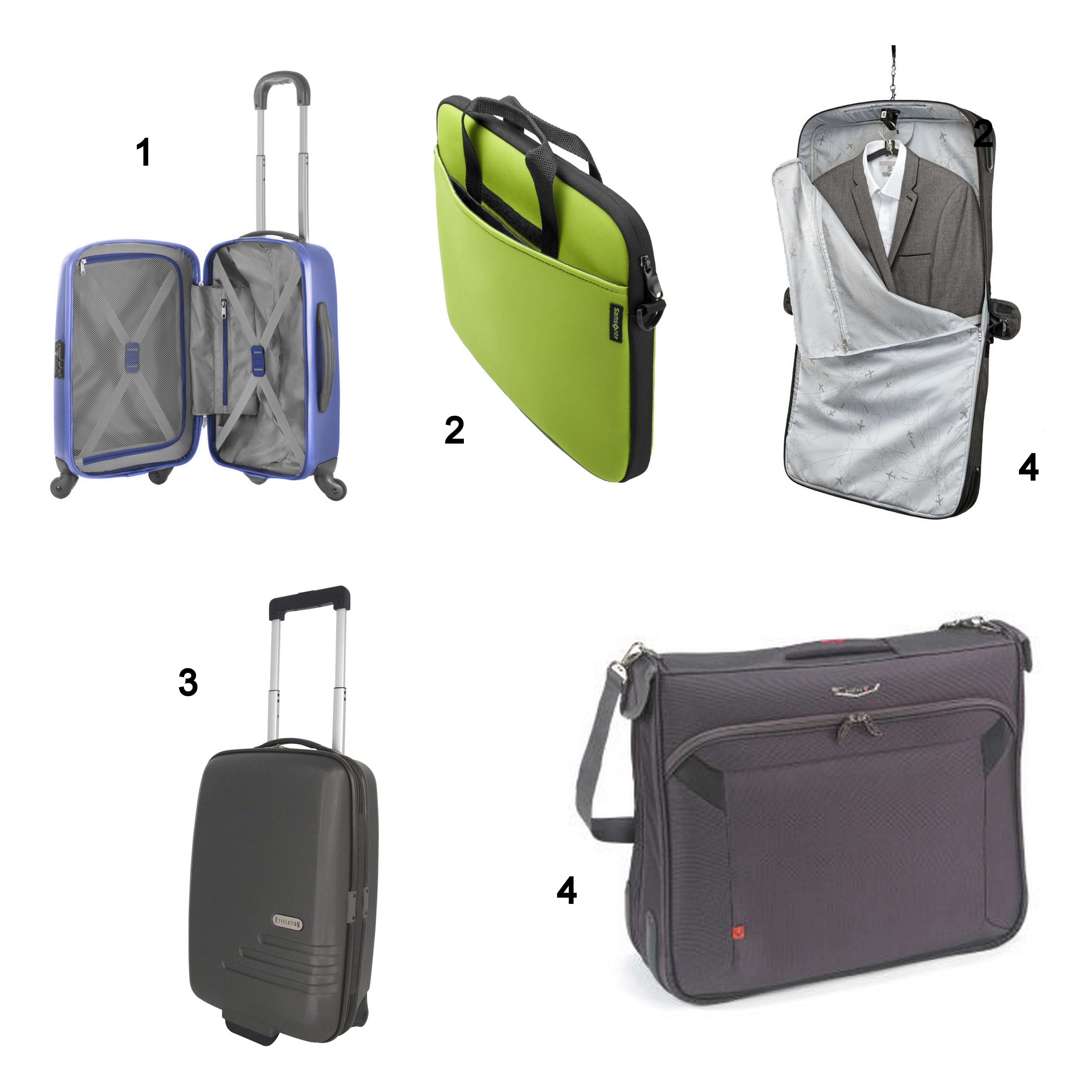 Collage of Business Luggage, including Antler cases, Samsonite cases, laptop cases and garment bags
