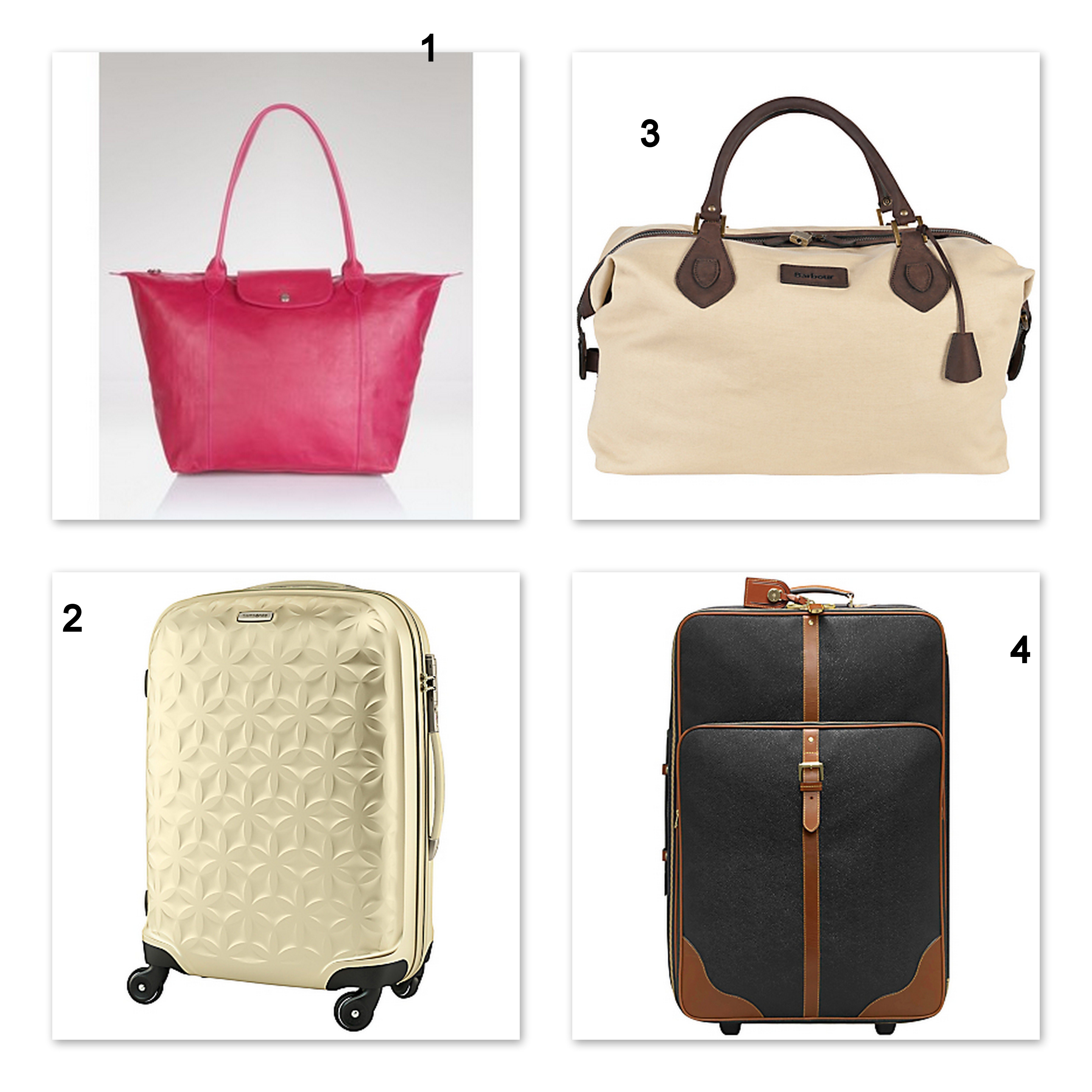 Fashionable luggage for 2012 - including Longchamp bags, Samsonite and Mulberry suitcases and Barbour Holdall