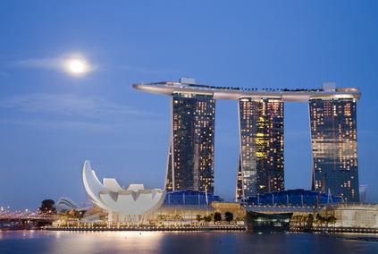 Moon over Marina Bay Sands