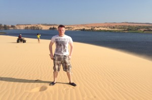 Quad-biking on the sand dunes (yes it was quite windy, yum yum sand!)