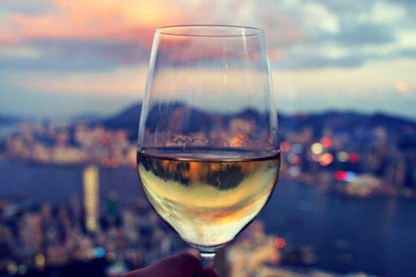 Drinks over the Hong Kong skyline