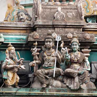 Traditonal sculpture on Indian temple in little India
