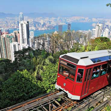 Tram over Hong Kong Peak