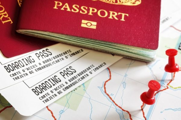 passport with tickets