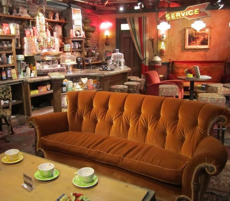 Friends orange sofa central perk