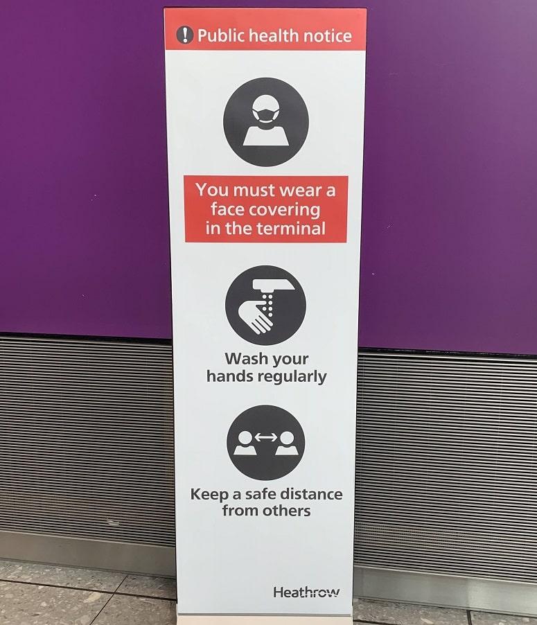 Terminal 5 hygiene sign