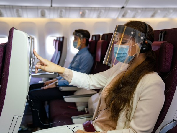 flying during pandemic with mask visor