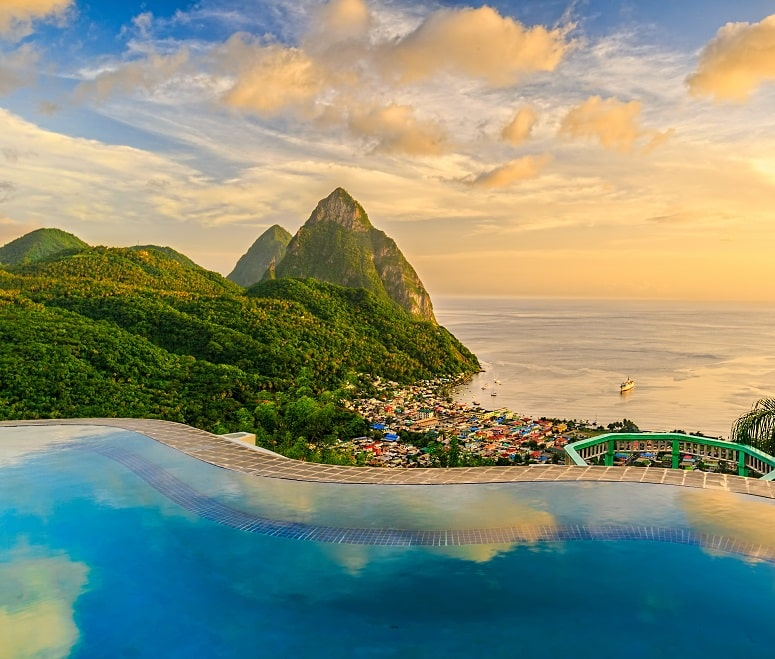 Infinity pool of five-star hotel with Piton views in St Lucia