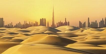 Dubai skyline view from desert
