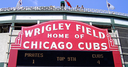 An image of the Chicago Cubs sign