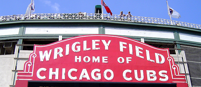 An image of the sign for the Chicago Cubs