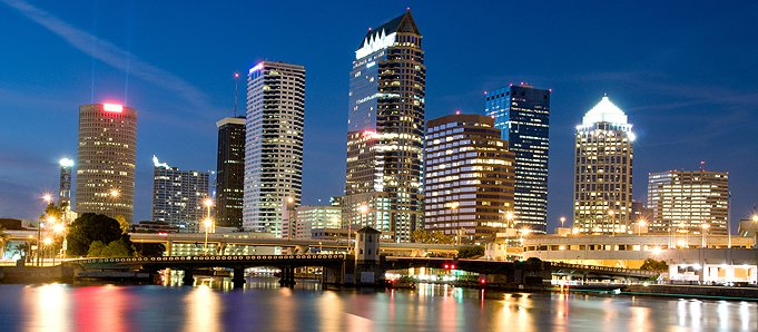 An image of Tampa at night