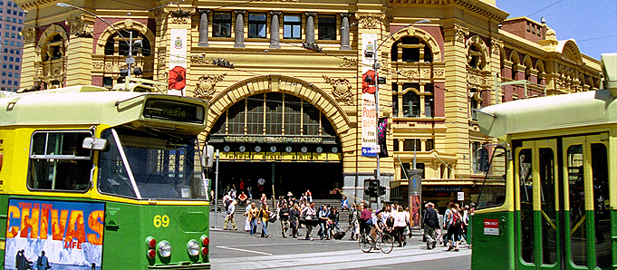 A busy street in Melbourne