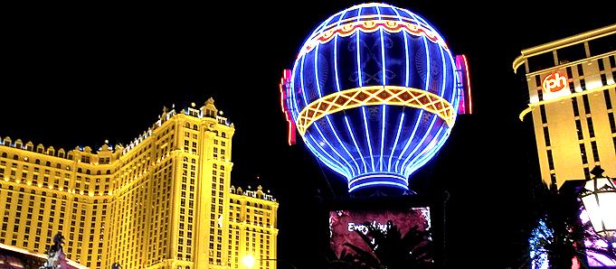 An image of a neon hot air ballon in Las Vegas