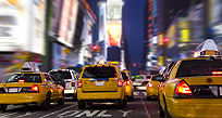 An image of New York taxis