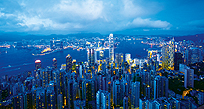 An image of Hong Kong at night