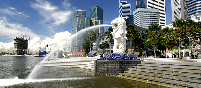 An image of a fountain in Singapore