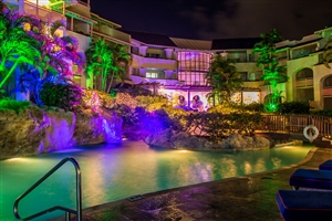 Bougainvillea beach resort at night