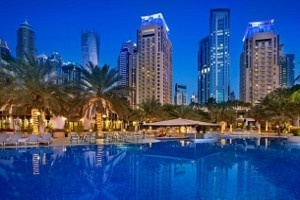 Pool area at Habtoor Grand, Autograph collection