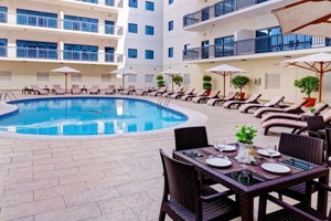Pool area at Golden Sands Apartments