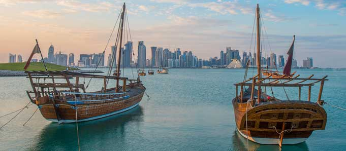 Dhow and skyline in Qatar